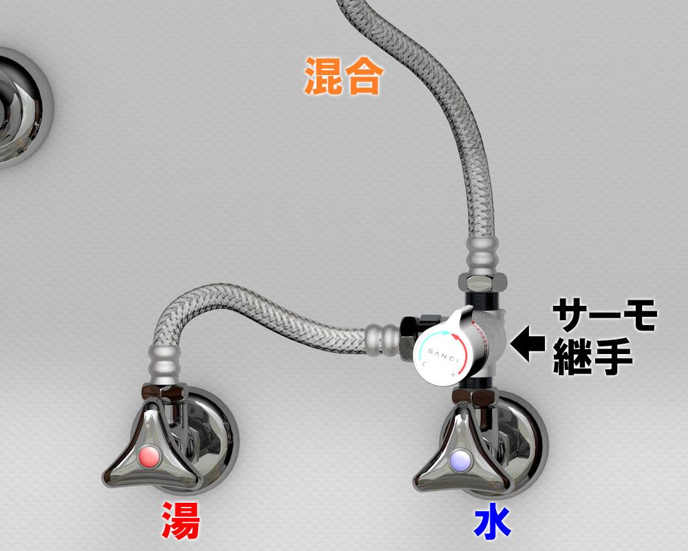 サーモ継手の単水栓接続写真